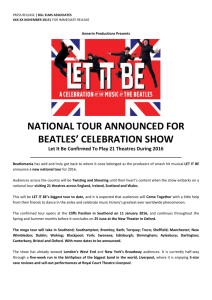NATIONAL TOUR ANNOUNCED FOR BEATLES