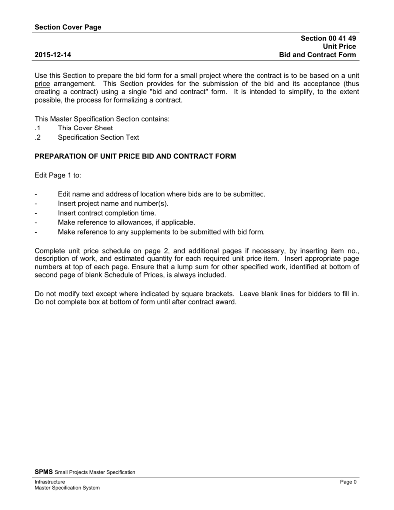 unit price bid and contract form alberta ministry of infrastructure