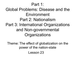 Part 1: Nationalism Part 2: International Organizations Part 3: What