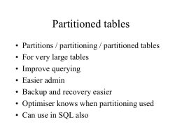 Partitioning in Databases