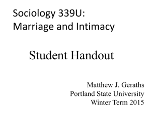Sociology 339: Marriage and Intimacy