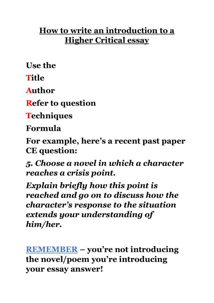 How To Write An Introduction To A Higher Critical Essay Ddaeaeaecaebabdcfcpng