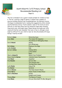 Year 5/6 Reading List - South Kilworth Primary School