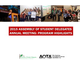 2015 Assembly of Student Delegates Annual Meeting