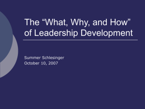 "The ""What, Why, and How"" of Leadership Development"