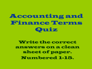 Accounting and Finance Terms Quiz - duwandadorsey