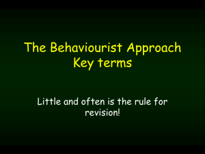 Behaviourist terms quiz