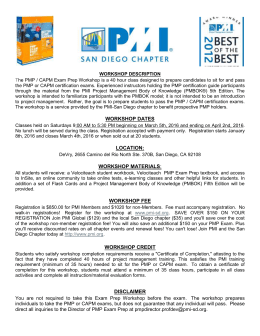 PMP-CAPM Course Flyer March 2016