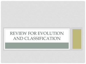 REVIEW FOR EVOLUTION AND CLASSIFICATION