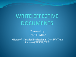 WRITE EFFECTIVE DOCUMENTS