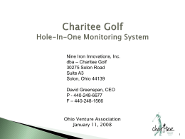 Charitee Golf Hole-In-One Monitoring System