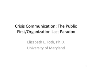 A Crisis Communication Paradox: When Community Priorities Dictate