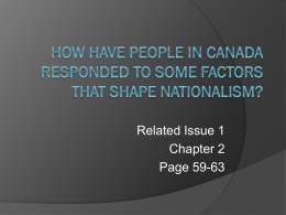 How Have People in Canada Responded to Some Factors That