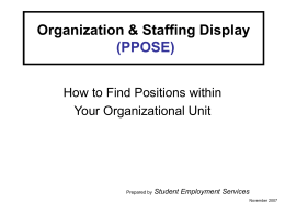 Organization and Staffing Display