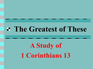 The Greatest of These - Gettysburg Church of Christ