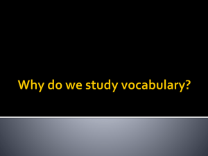 Why do we study vocabulary