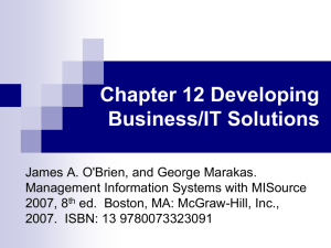 Chapter 12 Developing Business/IT Solutions