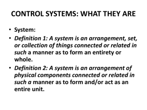CONTROL SYSTEMS: WHAT THEY ARE