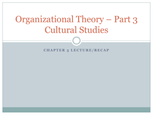 Organizational Theory * Part 3 Cultural Studies