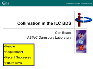 Collimation in the ILC BDS