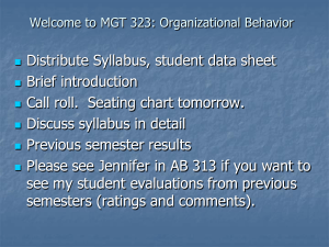Welcome to BUSN 351: Organizational Behavior