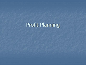 Chapter 13: Profit Planning