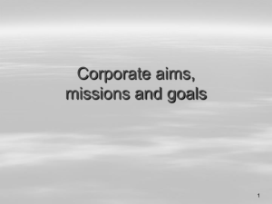 Corporate aims, missions and goals