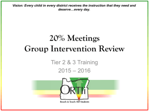 Cadre 10 Tier 2 Group Intervention Review