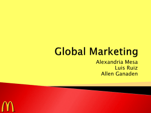 Global Marketing Program: PRODUCT