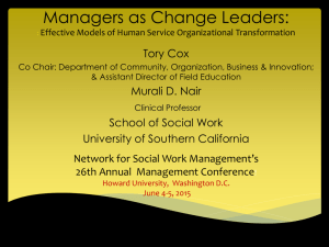 Managers as Change Leaders - Network for Social Work Management