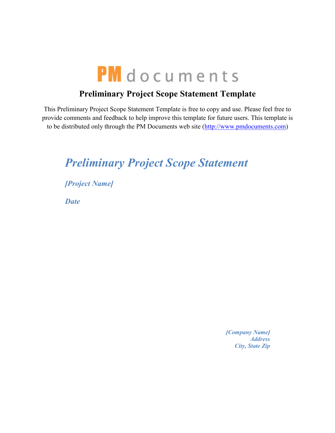 Preliminary Project Scope Statement Template