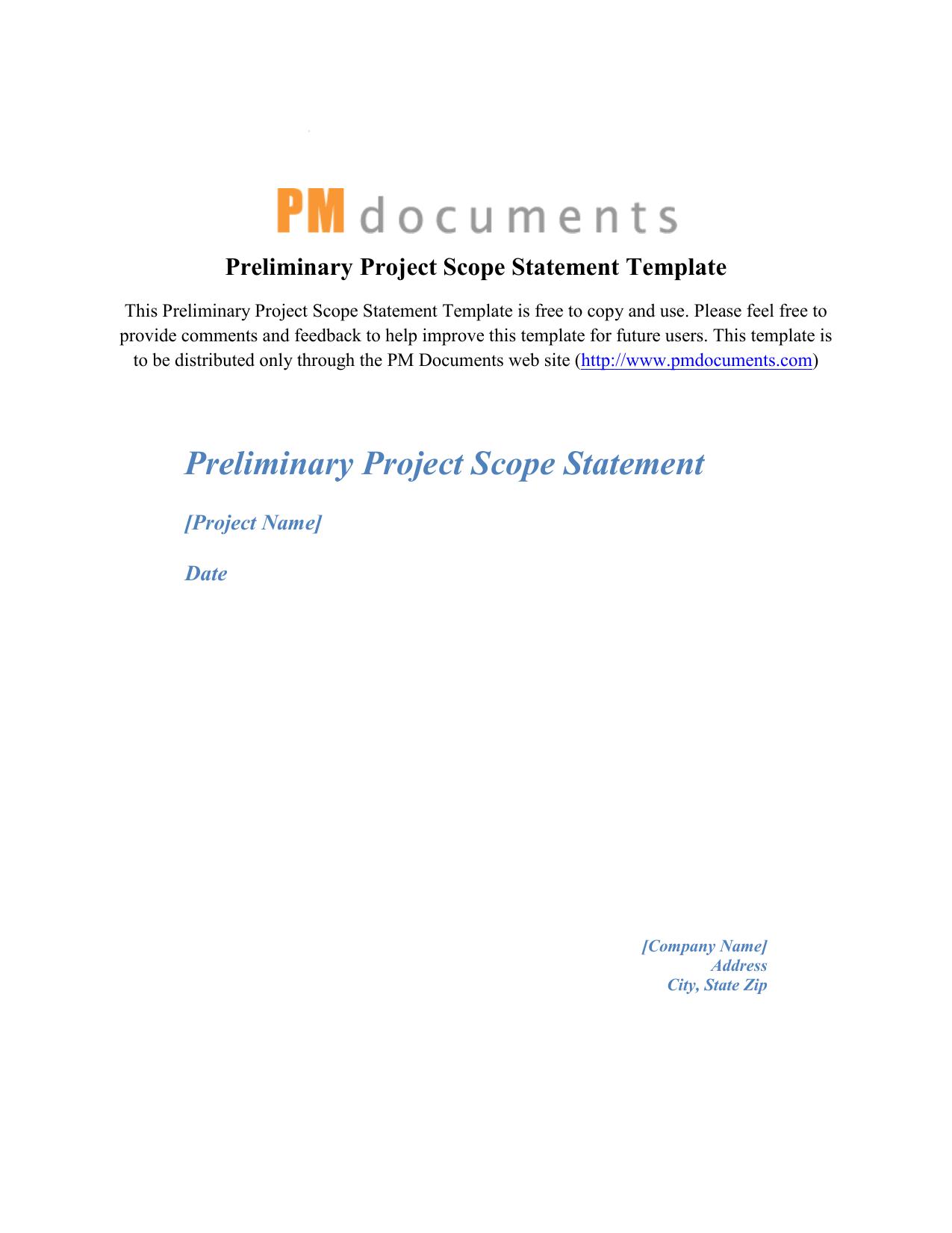 Preliminary project scope statement template maxwellsz