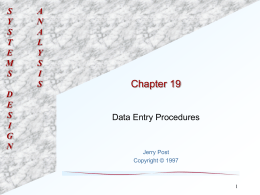 Chapter 19: Data Entry Procedures