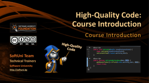 High-Quality Code: Course Introduction