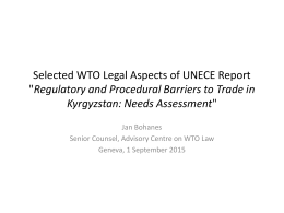 "WTO Legal Aspects of UNECE Report ""Regulatory and Procedural"