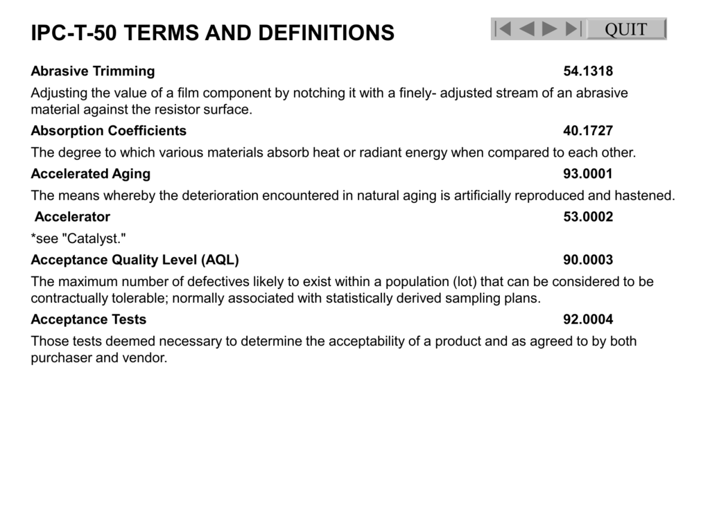 ipc-t-50 terms and definitions