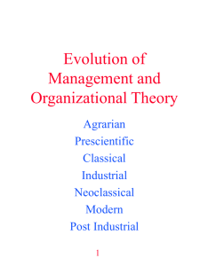 Evolution of Management and Organizational Theory