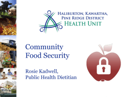 food system - Haliburton, Kawartha, Pine Ridge District Health Unit