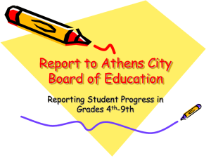 Report to Board on Pilot Program Reporting Student Progress