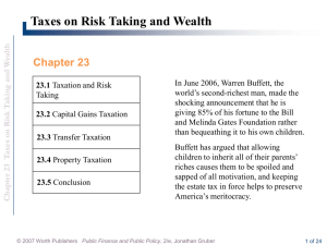 Chapter 23 Taxes on Risk Taking and Wealth