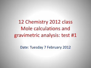 12 Chemistry 2012 class Volumetric Analysis: test #1