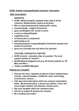 GCSE English Revision – Information Evening LC 2015