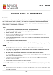 Programme of Study – Key Stage 3 – FRENCH
