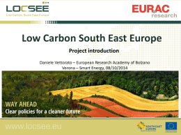 LocSEE presentation Vettorato - Low Carbon for South East Europe