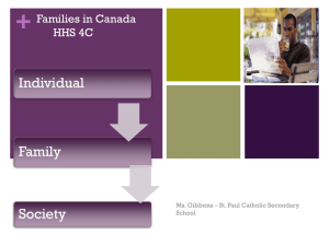 Families in Canada HHS 4U/ HHS 4C