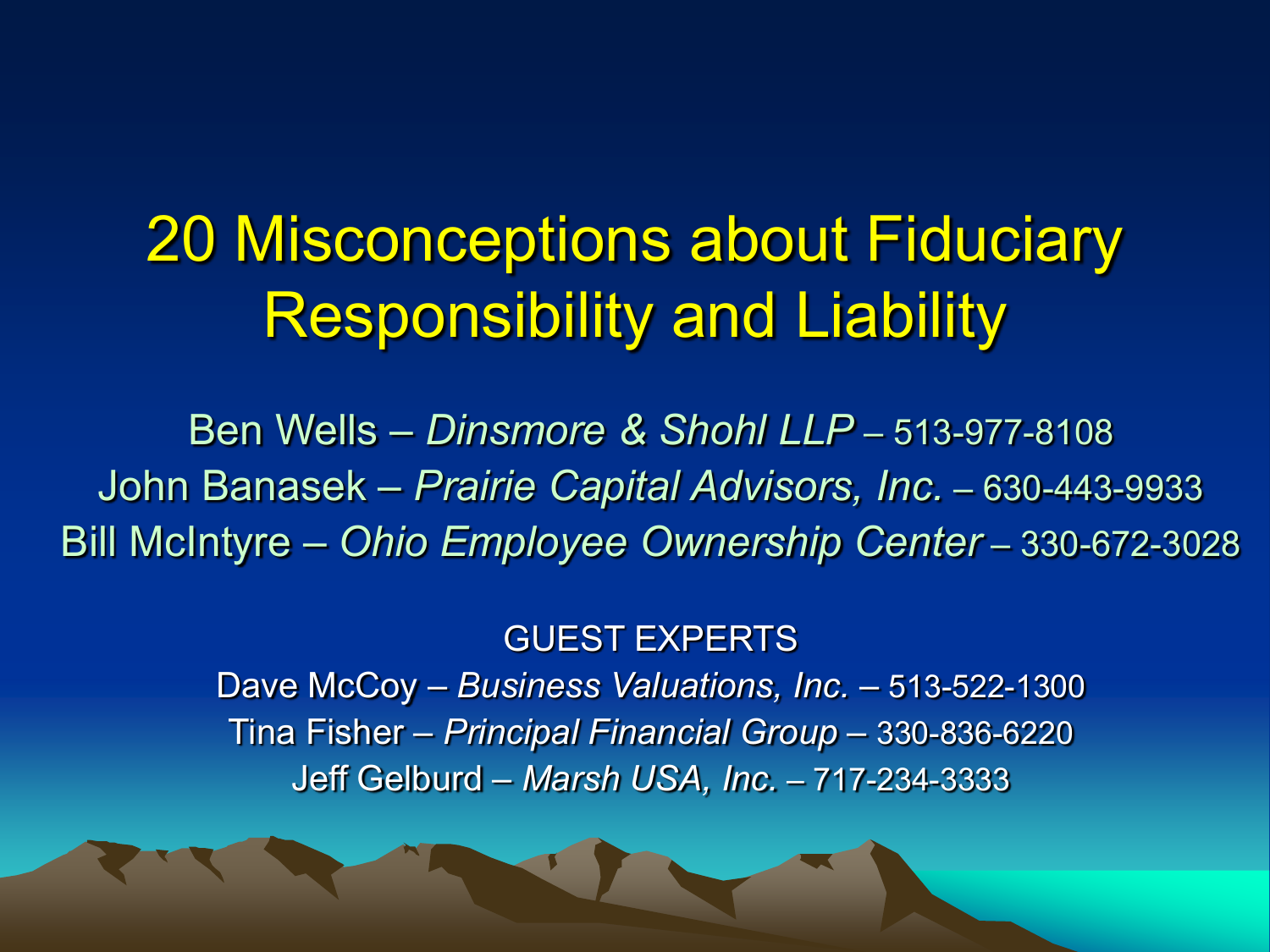 20 Misconceptions about Fiduciary Responsibility and Liability