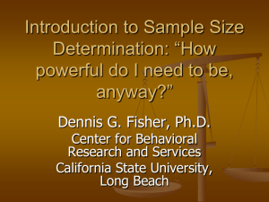 Introduction to Sample Size Determination