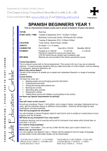 spanish beginners year 1 - Adult Education Carlisle