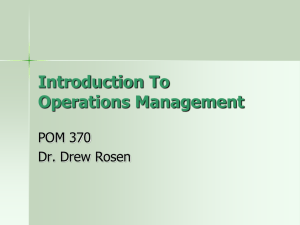 Introduction To Service Operations Management