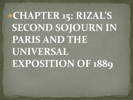 rizal's second sojourn in paris and the universal exposition of 1889